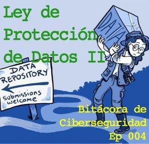 """Exploradora entregando una caja llena de datos. Sobreescrito """"Ley de Protección de Datos"""""""
