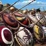 Formación de escudos en 2 filas de una falange hoplita
